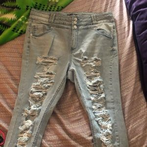 Denim - High Waisted Ripped Light Wash Jeans